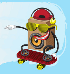 character music speaker rides a skateboard in vector image
