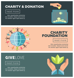 Charity and donation fund flat web banners vector