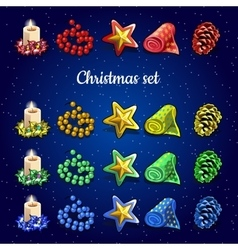 Christmas collection of candles beads and other vector