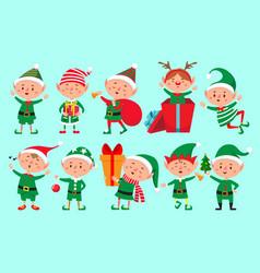 christmas elf character santa claus helpers vector image