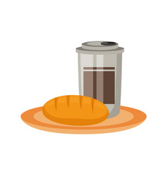 Cofee cup and bread vector