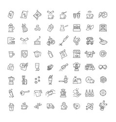 coffee icons set thin line design vector image