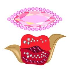 Coquette gemstones kiss shape brooch vector
