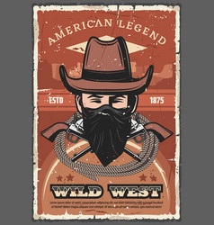cowboy in hat with revolvers wild west vector image