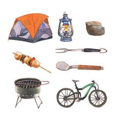 Creative camping watercolor design for decorative vector