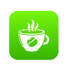 cup coffee icon green vector image
