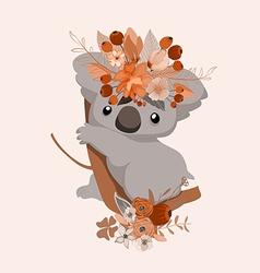 Cute card with lovely koala Koala in a wreath of vector image