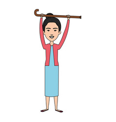 cute grandmother with cane avatar character vector image