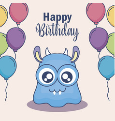 cute monster with balloons helium birthday card vector image