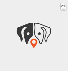 Dog Pet Animal Pin Location Logo Template Icon Vector