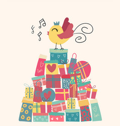 Doodle cute bird on present boxes mountain idea vector
