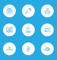 eating icons line style set with oyster spoon vector image