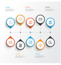 Education icons set collection of e-study vector