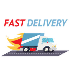 fast delivery truck flat design template vector image