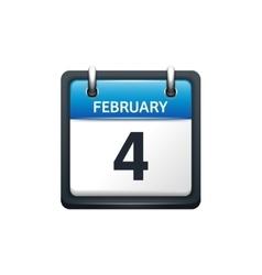 February 4 Calendar icon flat vector