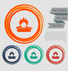fire icon on red blue green orange buttons vector image