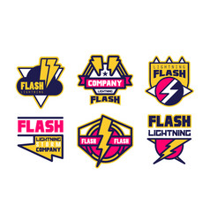 flash lightning storm company logo templates vector image