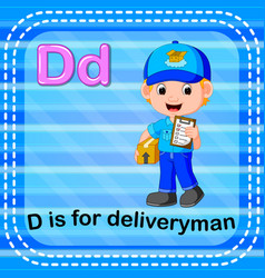 Flashcard letter d is for deliveryman vector