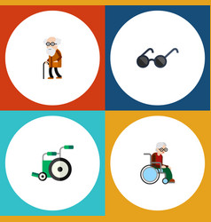 flat icon handicapped set of ancestor wheelchair vector image