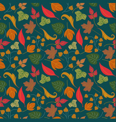 floral seamless pattern with autumn leaves and vector image