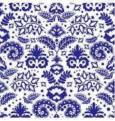 folk tatar blue ornament seamless pattern vector image