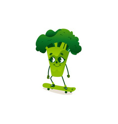 funny broccoli character with human face skating vector image vector image