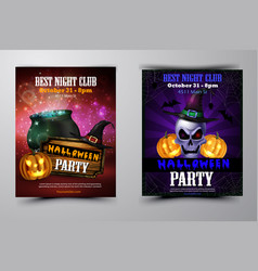 halloween party flyer with pumpkins vector image