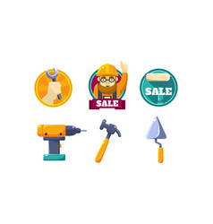 Hand tools for carpentry and home renovation vector