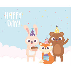 happy day bear fox rabbit with party hat cake and vector image