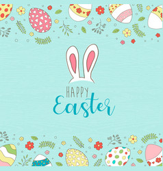 happy easter card spring egg hunt with flowers vector image