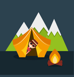 happy man travelers in vacation with tent bonfire vector image