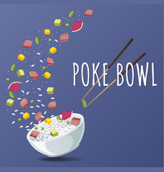 hawaiian poke tuna bowl with greens and vegetables vector image