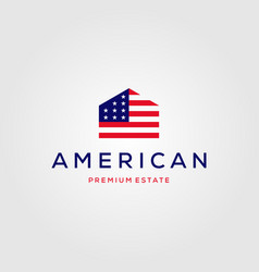 home house american flag real estate logo vector image