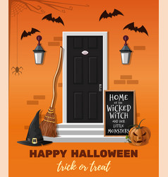 house is decorated for the halloween holiday vector image