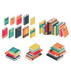 isometric book set books school library vector image