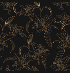Lily flower seamless pattern on black background vector