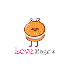 Love bagels logo nice for bakery store vector