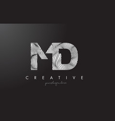 Md m d letter logo with zebra lines texture vector