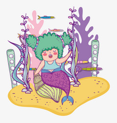 Mermaid woman in the shells and fishes with vector