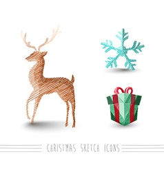 Merry Christmas sketch style reindeer elements set vector image