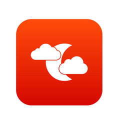 moon and clouds icon digital red vector image