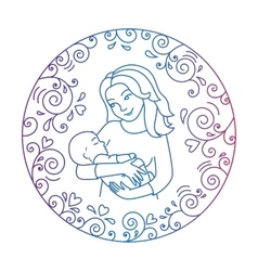 Mother and baby inside round frame vector image