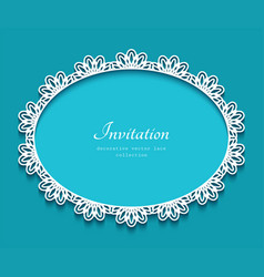Oval frame with cutout lace border pattern vector