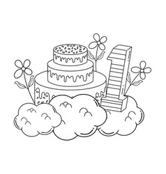 Party cake with flowers and and candle number one vector