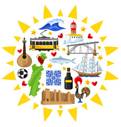 Portugal background design portuguese national vector
