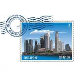 postmark from Singapore vector image vector image