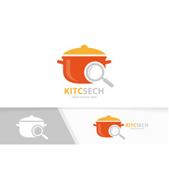 pot and loupe logo combination kitchen and vector image