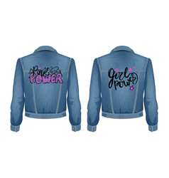 Punk power jeans jacket set vector