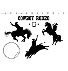 rodeo american set black silhouette vector image