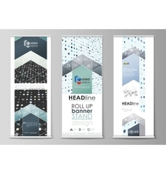 Roll up banner stands flat templates abstract vector